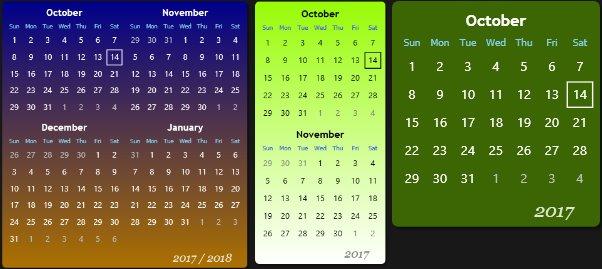 Calendar Widget for Windows